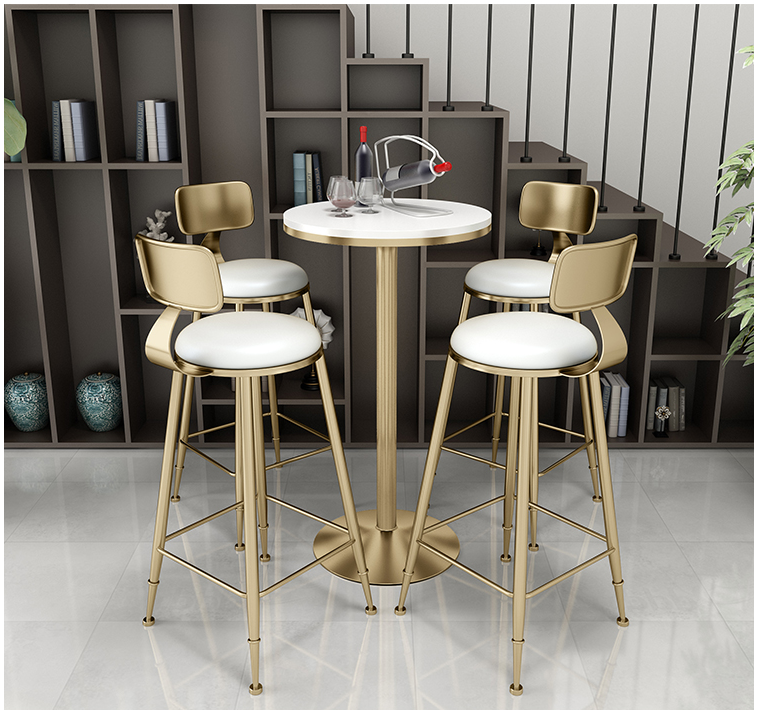 Купить с кэшбэком Iron bar chair simple fresh milk tea shop table chair net red bar table chair combination high table chair small round table