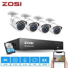 Zosi 4k super hd sistema de vigilância por vídeo 8 canais h.265 + dvr com 2tb hdd e 4x4k (8mp) ip67 câmeras à prova de intempéries da bala