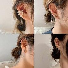 Cross-Clip-Earrings Jewelry Clips Ear-Accessorie Pearl-Ear-Cuff Fake Piercing No-Hole