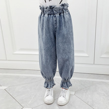 Girls Ruffle Pants Children Denim Trousers Baby Kids Leggings Spring Autumn Toddler Teenage Girl School Blue Jeans Clothes