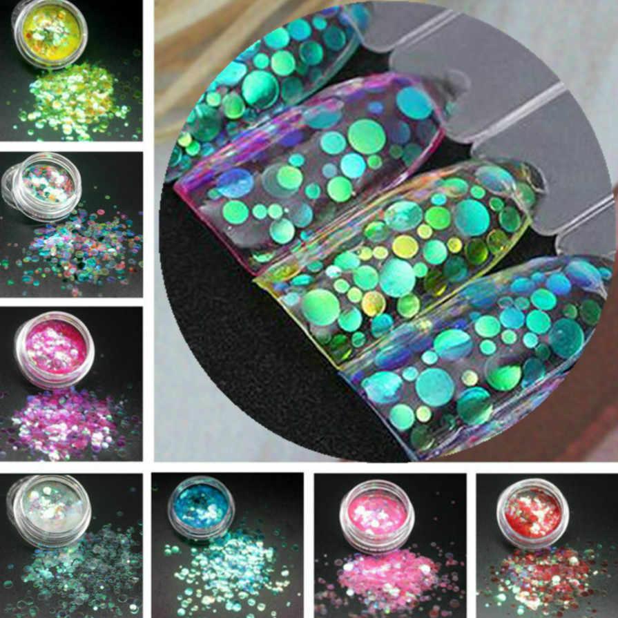 Moda transparente redondo ultradelgado esmalte de uña con lentejuelas largo-esmalte de uñas duradero chica Linda DIY herramienta de decoración para manicura 12 colores