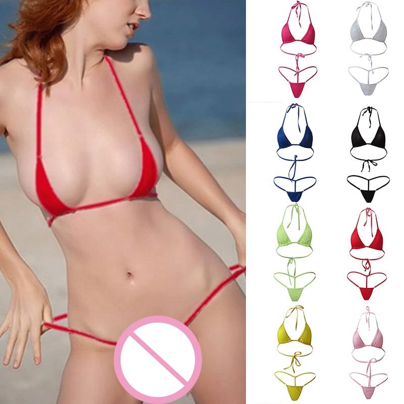 Newly Women Mini Swimsuit Bikini Set Halterneck Bra Micro Thong Beach Swimming Suit DO99