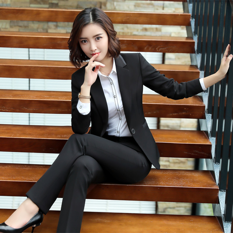 Formal Elegant Business Uniform Styles Blazers Suits Two Piece with Tops and Skirt for Ladies Office Work Wear Jacket Blazer Set