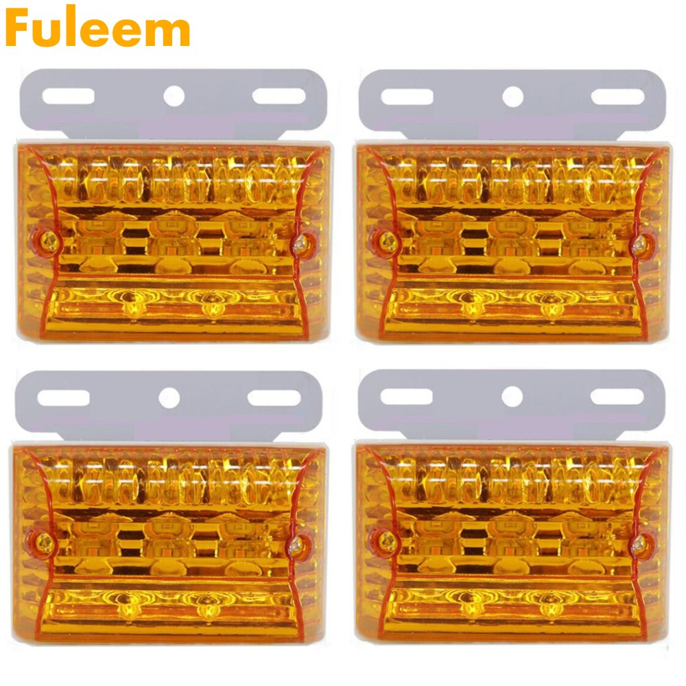 Fuleem 4PCS 20 LED Marker Indicator Light Clearance Lamp Amber Waterproof 24V For Truck Auto Boat Fancy