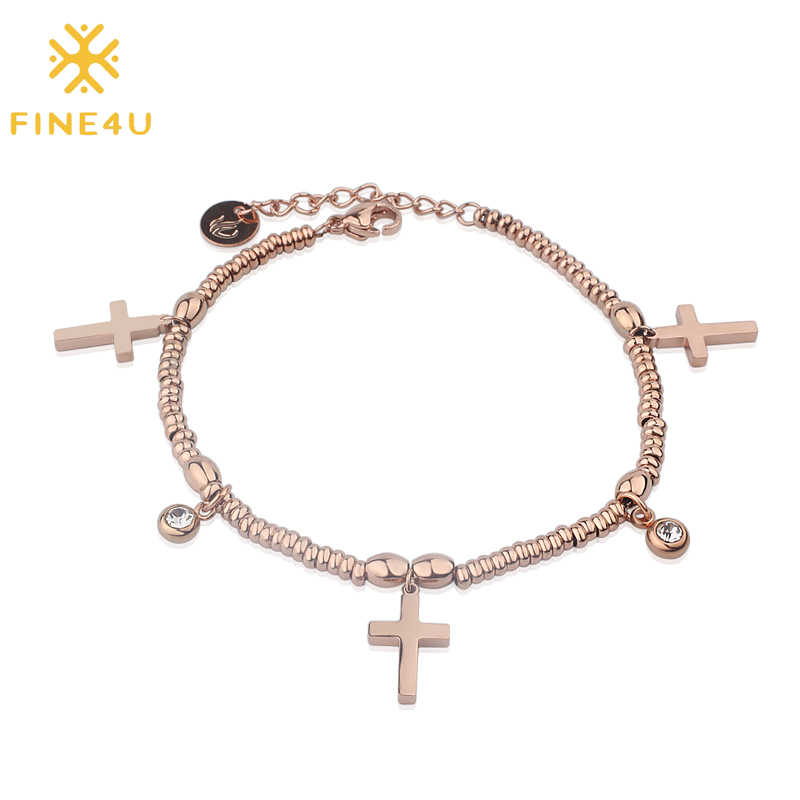 FINE4U B113 Fashion Rose Gold Color Adjustable Beads Bracelets 316L Stainless Steel Charm Bracelet Cross Crucifix Jewelry
