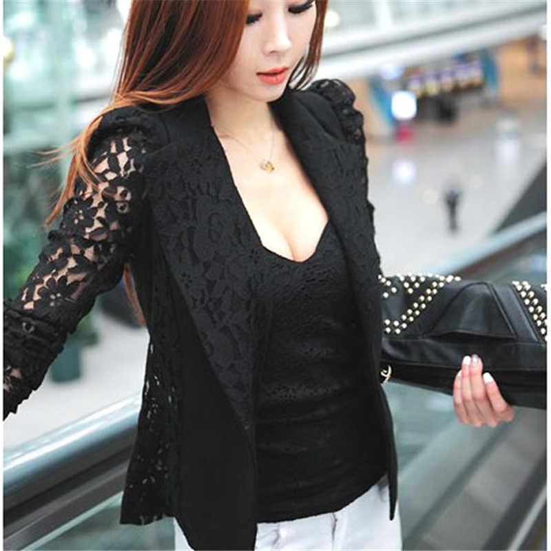 Traje de chaqueta de encaje Sexy para mujer de oficina traje de mujer de un botón de mujer OL abrigo de ganchillo chaqueta negro Blazers
