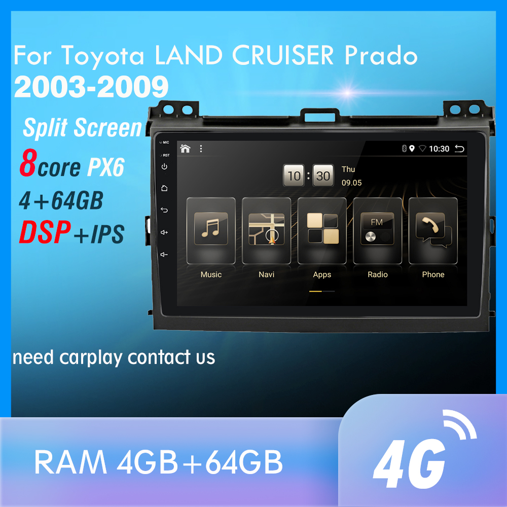 4G+64GB PX6 Car Multimedia Player For <font><b>Toyota</b></font> <font><b>LAND</b></font> <font><b>CRUISER</b></font> <font><b>Prado</b></font> <font><b>120</b></font> 2003-2009 Android 9 Radio Auto Navigation GPS 4G rear DAB+ image