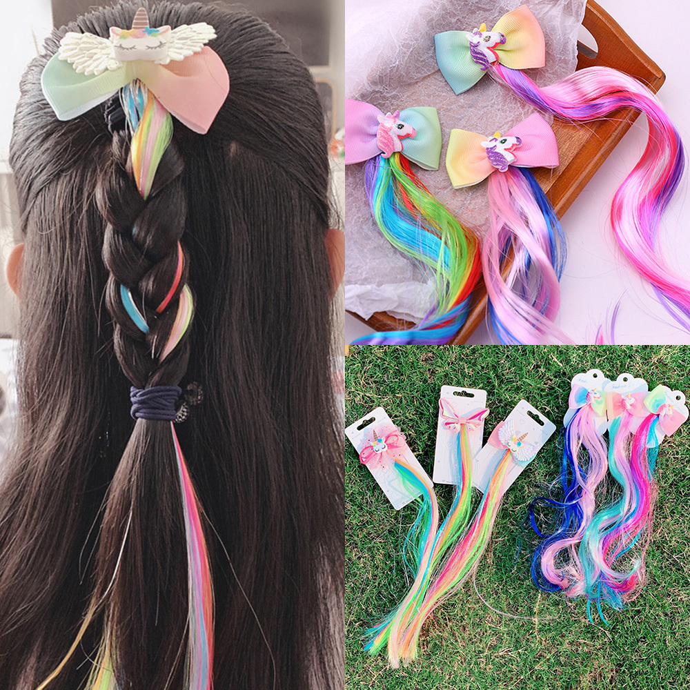 Girls Cute Colorful Wig Ponytail Cartoon Unicorn Hair Clips Sweet Princess Hair Ornament Hairgrip Hairpins Kids Hair Accessories