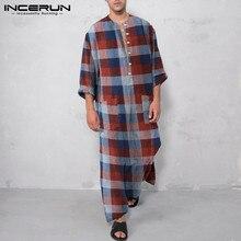 Jubba Thobe Islamic Clothing Robes Dashiki Arabic INCERUN Mens Cotton Pockets Long-Sleeve