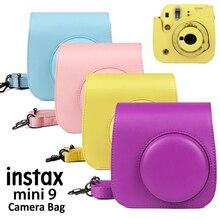 สีม่วงPUหนังกระเป๋าInstax Mini Caseพร้อมสายคล้องไหล่สำหรับFujifilm Instax Mini 8/9กล้อง