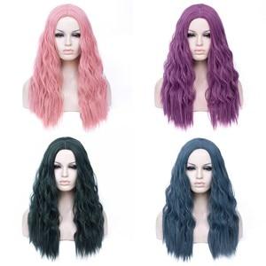 Image 4 - MSIWIGS волнистые синтетические парики для белых, черных женщин, длинные, зеленые, средние линии, красный парик для косплея, термостойкие Розовые розы, сетка
