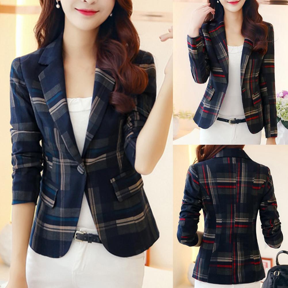 Classic Plaid Chic Autumn Blazer Jacket Women Streetwear Long Sleeves Winter Blazers Coat Female Casual Blazer Woman Blazer