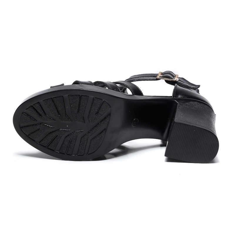 Kadın deri sandalet 2018 yaz Kore versiyonu vahşi kalın yüksek topuklu yan balık ağzı Roma kadın sandalet