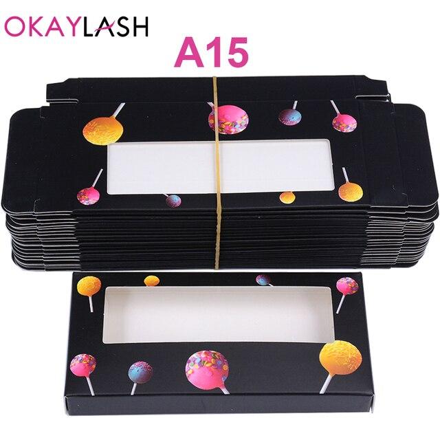 OKAYLASH Newes 50/100pcs Carton Paper Packing Box  for 25mm long EyeLash Wholesale Bulk Cheap Pretty Lashes Storage Packaging 1