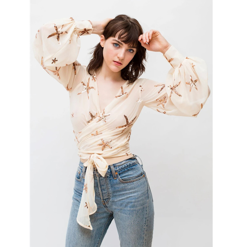 OUSHANG Star Embroidery Puff Sleeve Women's Blouses ElegantChiffon Cross Tulle Transparent Perspective Lace Up Shirts Summer