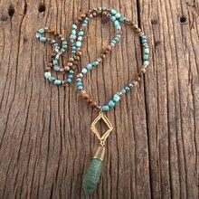 RH Fashion Bohemian Jewelry Natural Stones With Metal Mattgold Links Semi Precious Drop Pendant Necklaces For Women Boho Gift