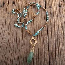RH moda Bohemian takı doğal taşlar Metal Mattgold linkler yarı değerli damla kolye kolye kadınlar için Boho hediye