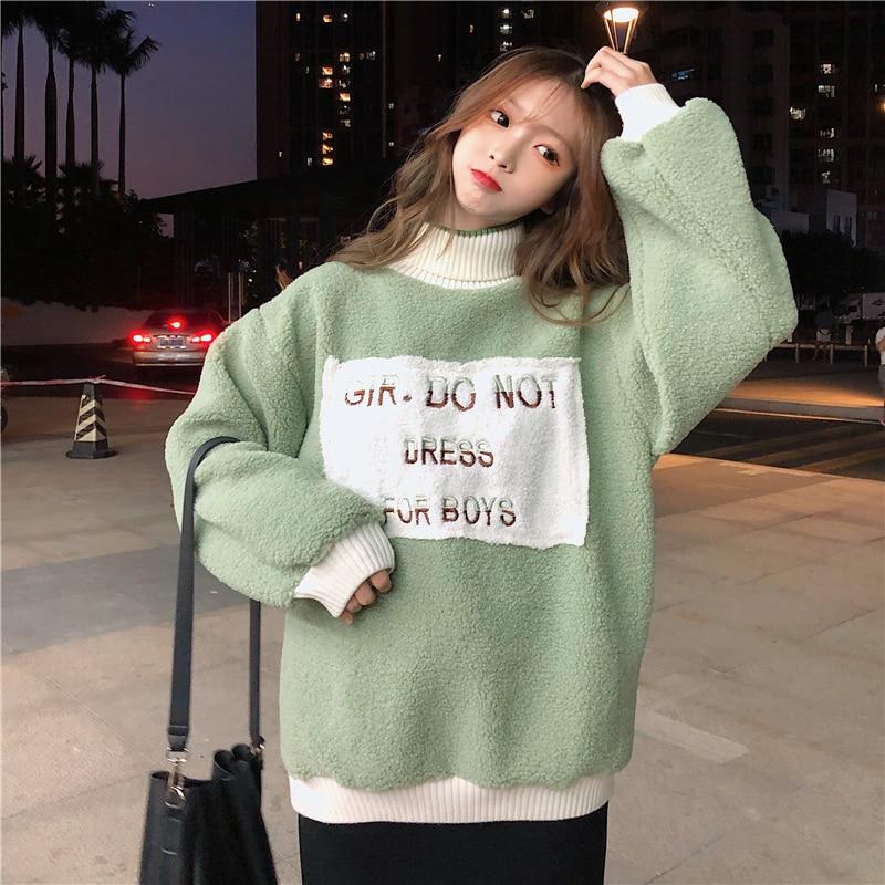 Женский свитер водолазка с буквенным принтом универсальные свободные
