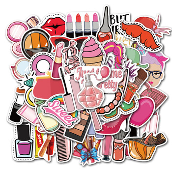 50Pcs/lot Pretty Girl Cosmetic Sticker Lipstick Perfume High Heels Pattern For Laptop Luggage Suitcase Cute Lovely Stickers image
