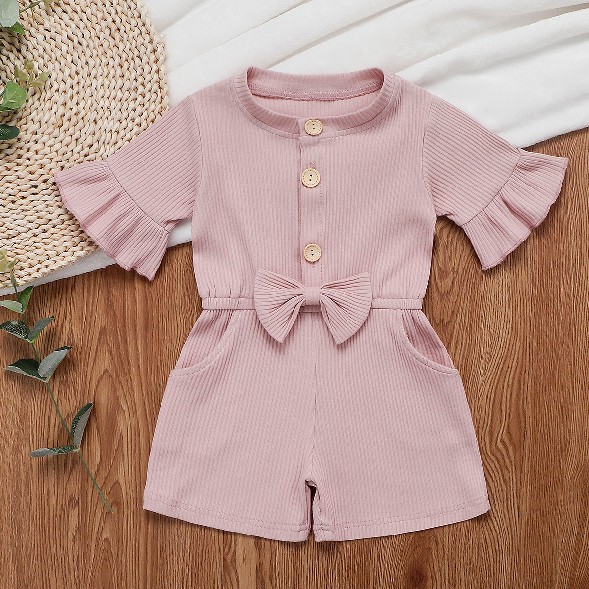 Pudcoco Toddler Baby Girl Clothes Solid Color Flare Short Sleeve Button Bowknot Romper Jumpsuit One-Piece Outfit Clothes