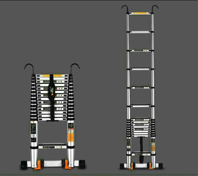 2.7M Aluminum Alloy Portable Folding Ladder Engineering Ladder Enhanced Anti-skid and Anti-tilting Telescopic Vertical Ladder