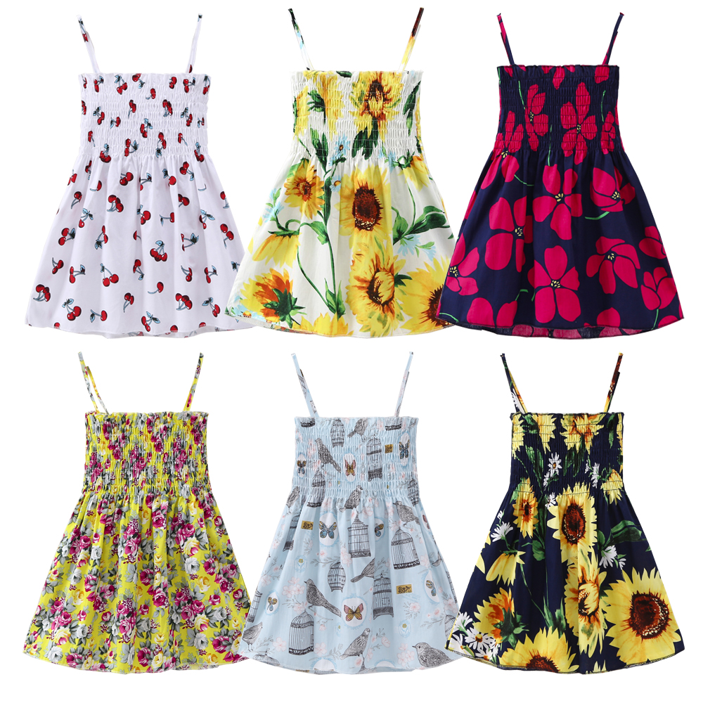 NEW Summer New Baby Clothes Bebe Baby Ruched Party Dresses Girl Cherry Floral Printed Cute Kids Costume Causal Loose Cute Dress