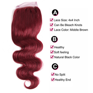 Image 5 - 99J/Burgundy Red Color Body Wave Human Hair 3 Bundles With Lace Closure 4x4 X TRESS Brazilian Non remy Hair Weaves Extensions
