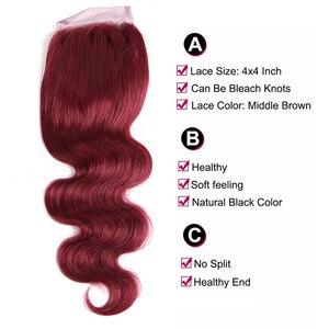 Image 5 - 99J/bordowy czerwony kolor korpus fala ludzkich włosów 3 wiązki z zamknięcie koronki 4x4 X TRESS brazylijski nie remy włosy do przedłużania przedłużanie włosów
