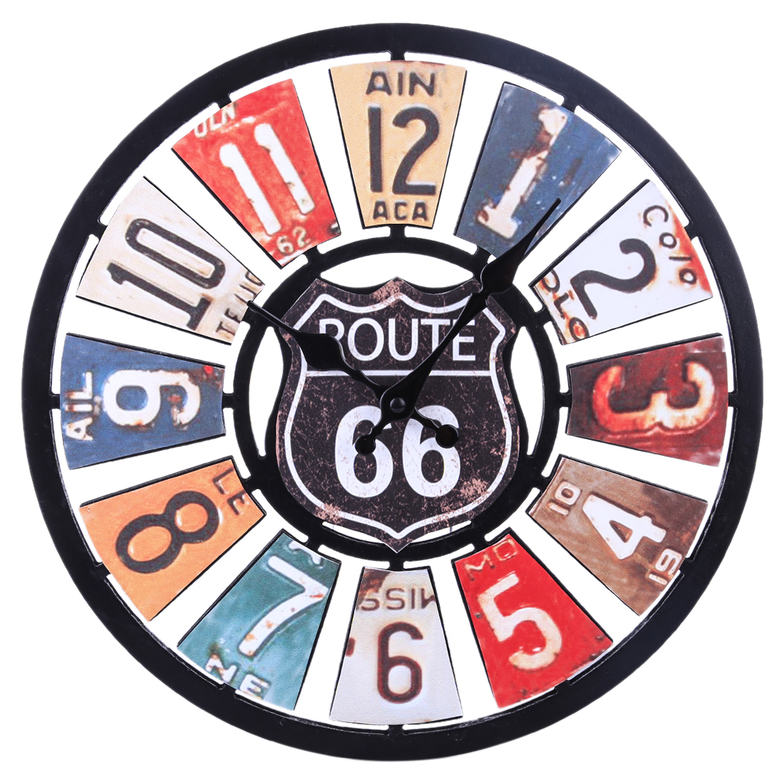 34cm Euramerican Retro Route 66 Silent Wall Clock Colorful Clocks For Home Decor Wall Clock Quartz Modern Design 2020 New