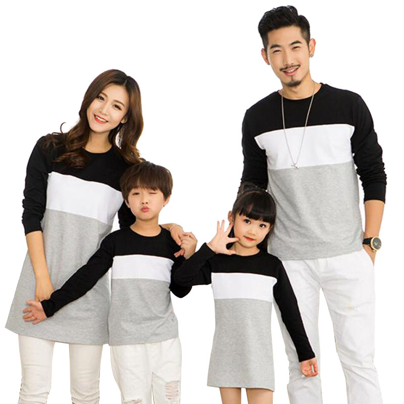 Family Matching Outfits Mother Daughter Dress Family Look 2019 Family Clothing Father Son T-Shirt Cotton Patchwork Striped