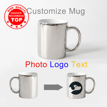 Advanced Bright silver DIY Photo mug 330ml ceramic tea cup with your Photo Text logo Printing Custom Picture offee Mug image