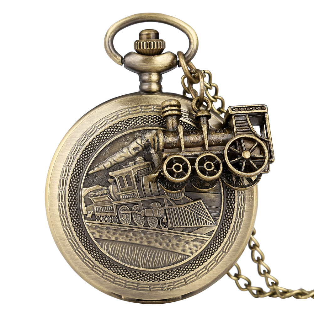 Classic Bronze Pocket Watch For Men Delicate Steam Train Cover Case Clock For Women Necklace Accessory Pendant Teens Zakhorloge