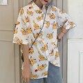 Блузка хараджуку для женщин, женская летняя рубашка на пуговицах с японским аниме, топы с короткими рукавами, Корейская одежда Kawaii