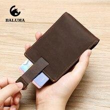 Crazy Horse Leather Credit Card Holder Travel Business Men Slim Wallet Money Clip Vintage Bankcard Checkbook Passport Holder