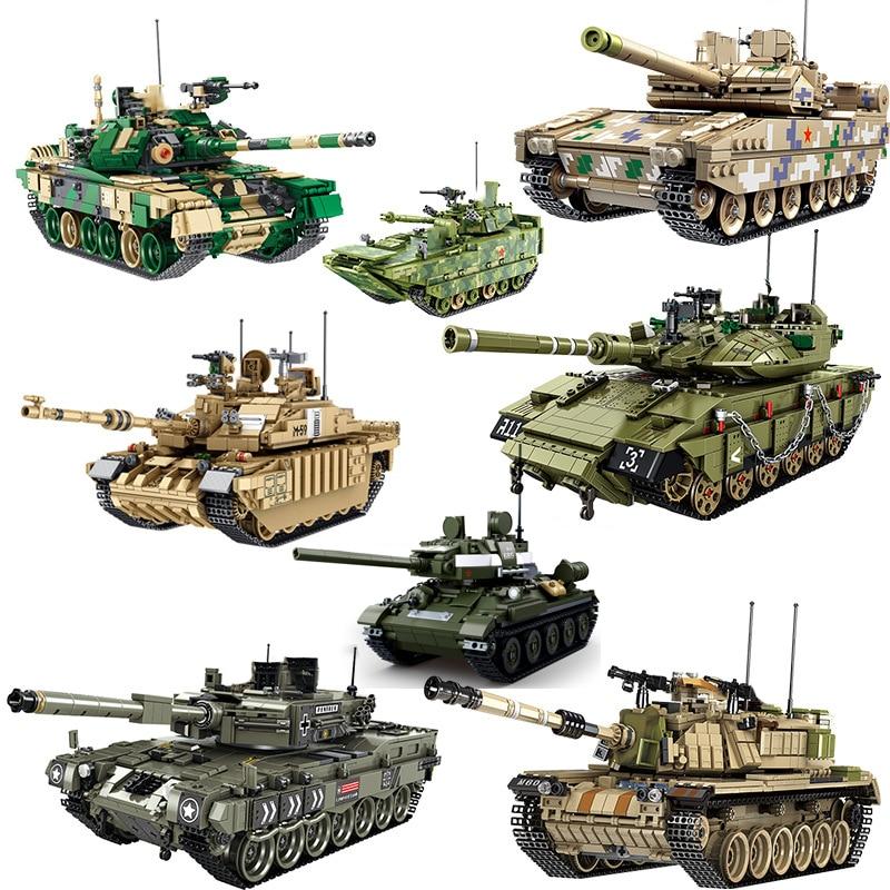 Conjuntos de tanques militares ww2 alemanha eua T34 modelo kits de construção blocos tijolos 2 1 i ii guerra mundial exército panzer técnica de veículos blindados