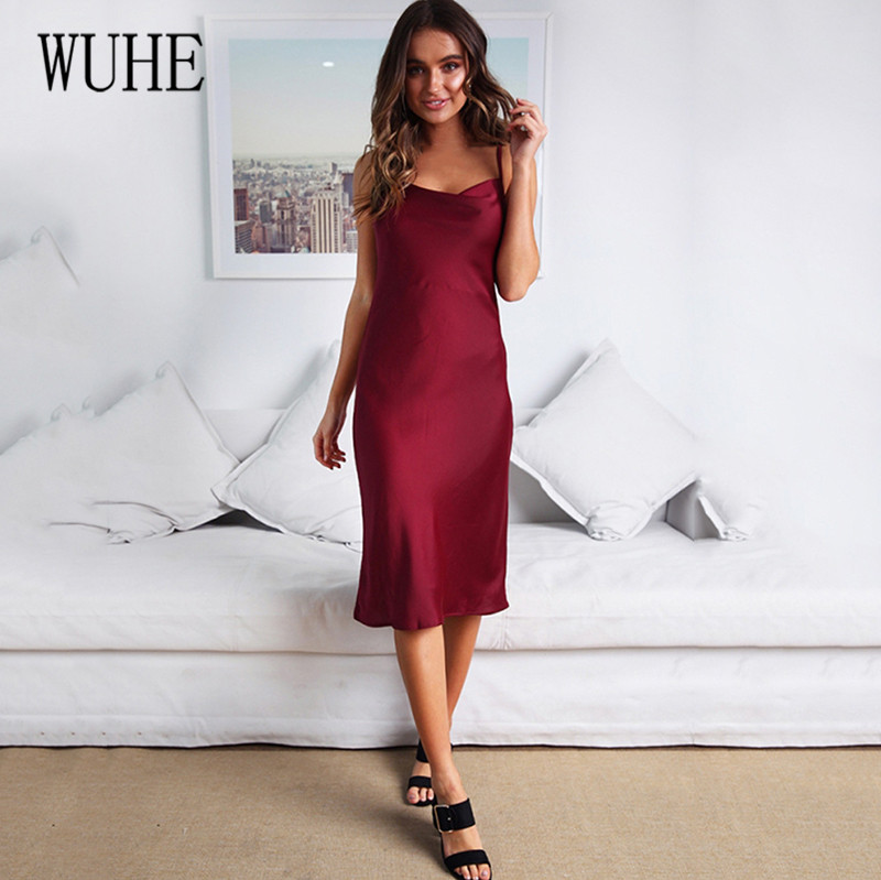WUHE Neon Satin Spaghetti Strap Summer Women Bodycon Midi Dress Sleeveless Hollow Out Elegant Party Outfits Sexy Club Clothes in Dresses from Women 39 s Clothing