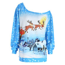 Christmas sweatshirt Women Clothing Off Shoulder Long Sleeve elk snowflake Santa Claus Print plus size Pullover Blouse Tops F814(China)
