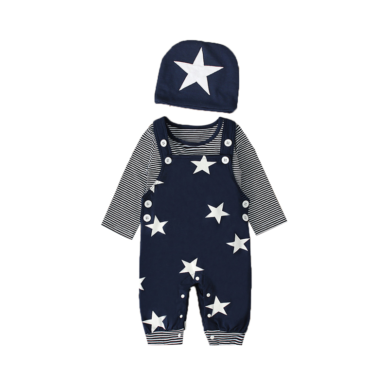 Newborn Cotton 3PCS Spring Overalls+Tops+Hat Baby Boy Clothes Set Striped 0-24M Full Sleeve Autumn Boys Baby Clothing O-Neck