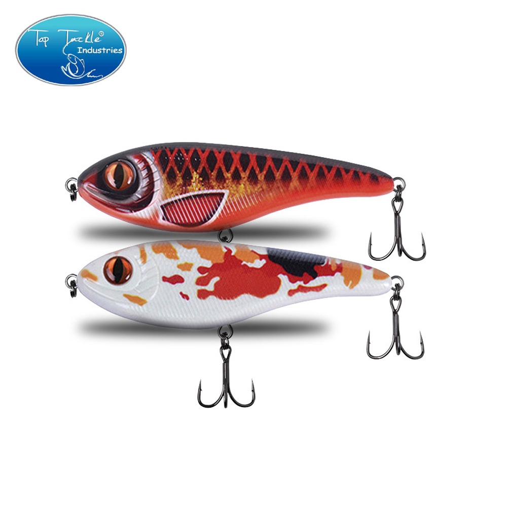 120mm 49g Colors 001 To 026 Slow Sinking Muskie Pike Jerk Bait Hard Bait Fishing Lure With Strengthen Treble Hooks