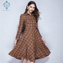 CUERLY New autumn tartan woolen dress women turndown collar elegant dresses 2019 retro plaid striped big hem slim thin vestidos