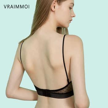 New Sexy Low Back Lace Bralette Black / White Backless Bra dot mesh Ultra Thin Underwear Women Lingerie Sexy Tank Tops Bra