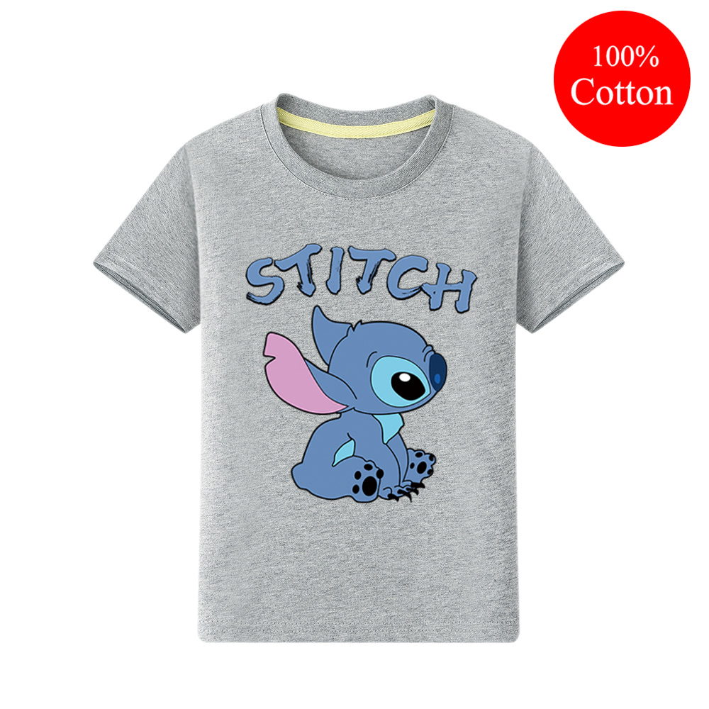 Children New Cartoon Stitch Print T-shirts Clothing Short Sleeve Tee Tops For Boy Girls Casual Clothes Kids Cotton Tshirt QA017