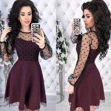 Fashion Patchwork Dot Lace Dress Women Vintage O-Neck Plus Size Party D
