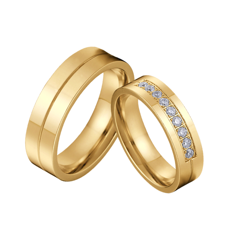 Classic LOVE Alliances marriage Proposal Wedding <font><b>Couple</b></font> <font><b>Rings</b></font> <font><b>Set</b></font> for men and women Gold Color stainless stee men's <font><b>ring</b></font> image