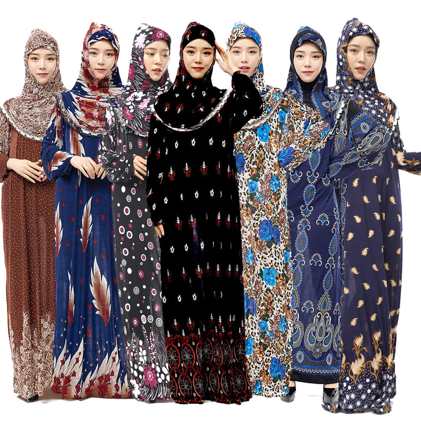 Muslim Full Cover Abaya Dress Islamic Traditional Hiijab+dress Clothing Set Female Arab Middle East Ramadan Prayer Outfits