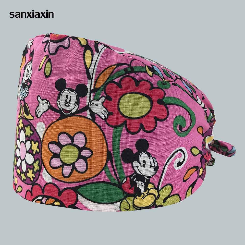 Sanxiaxin Unisex Medical Beauty Caps Cotton Doctor Nurse Printing Scrub Work Cap Medical Surgical Cap Multipurpose Dental Care