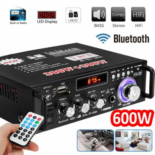 300W+300W Bluetooth Home/Car Amplifier Car HIFI 220V 12V CH2.0 Stereo Audio Digital Pre-Amp Amplifier Durable Easy Use Black