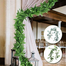 Искусственная ива Виноградная лоза имитация ивовых листьев украшения сада ресторан 1,7 м серый/зеленый креативный