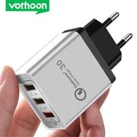 Vothoon carregador rápido de 3 portas qc3.0, com plugue usb de carregamento rápido para telefone celular samsung s9 s10 xiaomi mi 9