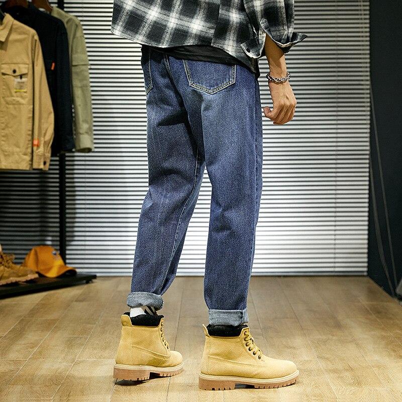 Jeans Men's Autumn Hong Kong Style Loose-Fit Pendant Sense Capri Korean-style Trend Dad Pants Teenager Students Straight-Leg Pan